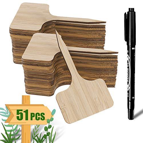 ARPDJK 50 Stück Pflanzenschilder Bambus und 1 Stück Marker Pen, T-Form Pflanzschilder Holz mit Verpackungsbox, Pflanzenschilder für Samen Topfkräuter Blumen Gemüse (6 x 10 cm)