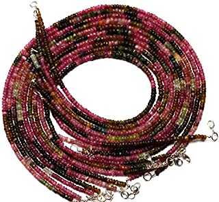 Natural Gem Multicolor Tourmaline Rough Unpolished 4 to 5MM Size Rondelle Beads Necklace 17 Inch Full Strand Complete Necklace