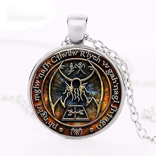 Cthulhu R'lyeh Sigil H.P. Lovecraft - Collar de cabujón con colgante de cristal