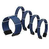 LINKUP - Cable con Manguito - Prolongación de Cable para Fuente de Alimentación con Kit de Alineadores | 1x 24P (20+4) MB | 2X 8P (4+4) CPU | 2X 8P (6+2) GPU | 50CM 500MM - Azul Negro