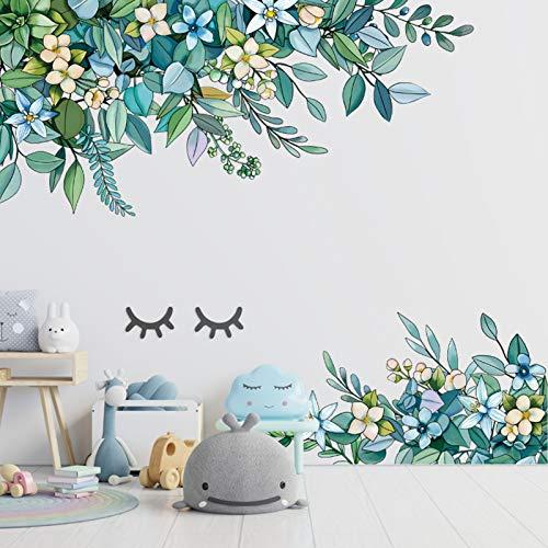 Aquarell Grün Pflanze Blume Wandtattoo Wandaufkleber, VASZOLA Hängende Rebe Tropischer Pflanzen Gräser Blätter Blumen Aufkleber Wanddeko Aufkleber für Wohnzimmer Schlafzimmer Flur Fenster Wanddeko