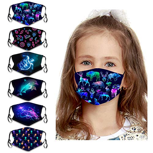 6PCs Kids Face Bandanas 3D Pattern Reusable Breathable Cloth Fabric Protection for Boys Girls School Students