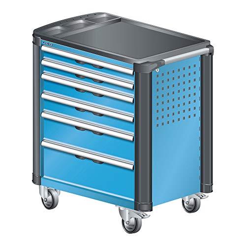 LISTA Art.Nr. 81.074.010 Werkstattwagen mit Kunststoffabdeckung und Kantenschutz 36x27E (BxTxH) 894x525x928mm 6 Schubladen Lichtblau RAL 5012