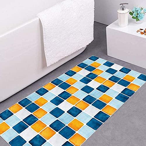 aipipl Pegatinas de Pared para Suelo de Mosaico Película Decorativa para Cubierta de Suelo Suelos de baldosas de Sarga Pegatinas de Pared Azul Amarillo