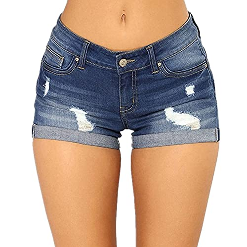 N\P Pantalones Cortos de Jeans Mujeres rasgadas Pantalones Vaqueros Cortos Mujeres Jeans Cortos Mujeres
