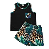 Kleinkind Kinder Baby Jungen Mode Sommer Ärmellos Tops + Leopard Kurze Hose Outfits einstellen A224