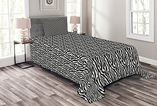 ABAKUHAUS Zebra Tagesdecke Set, Monochrome Abstrakt Pferd, Set mit Kissenbezügen Waschbar, 170 x 220 cm, Weiß & Dunkelgrau
