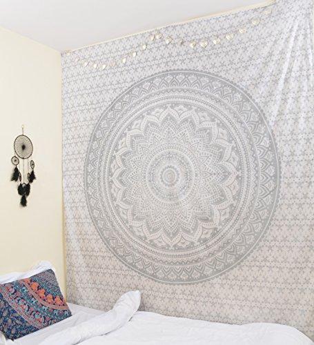 RawyalCrafts Mandala Tapisserie Murale en Coton Argenté 54 x 84 cm (Environ)