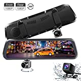 Mirror Dash Cam, 10 Inch Full Touch Screen Dual 1080P 350° Rotating Front