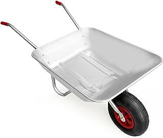 Gardebruk Carretilla 80L de acero galvanizado con rueda para