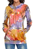 Sweatshirts for Women,Hibelle Womens Tie Dye Sweatshirt Hoodies with designs Cute Cool Femine Workout Yoga Gym Clothes Dri Fit Shirts Compression Sports Clothing Orange X-Large