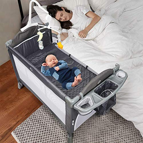BANIROMAY Baby Bassinet Bedside Sleeper, 5 in 1 Baby Changing Table Playpen Rocking Crib, Adjustable Height Portable Travel Crib for Newborn