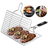 ACMETOP Portable Grill Basket 304 Stainless Steel Fish Grill Basket with Removable Handle, Grill Fish Basket for Grilling Vegetables Fishes Shrimp - 【Bonus a Grill Mat, Sauce Brush and Carrying Pouch】