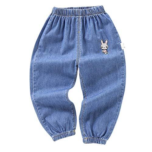 Sunenjoy Jeans Bébé Garçon Fille Denim Pantalon Lapin Broderie Sarouel Élastique Sport Jogging Running Casual Mode Mignon Pants pour Enfant 1-5 Ans (2-3 Ans, Bleu foncé)