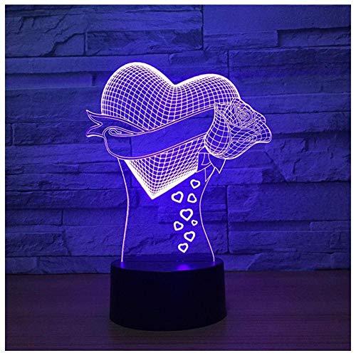 3D ilusión lámpara de escritorio luz de noche de inteligente Heart Blue decoración del hogar y para codormir Con carga USB, control táctil de cambio de color colorido
