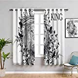 King Black Out Cortinas para dormitorio Reign of the Jungle Forest Símbolo de valor Safari Animal Lion Grunge Diseño de muebles protectores azul oscuro blanco ancho 72 x largo 72 pulgadas