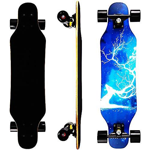 "31in short Longboard Cruiser Skateboard 7 Layers Decks 31""x8"" Pro Complete Skate Board Maple Wood for Beginners Kids Teens"