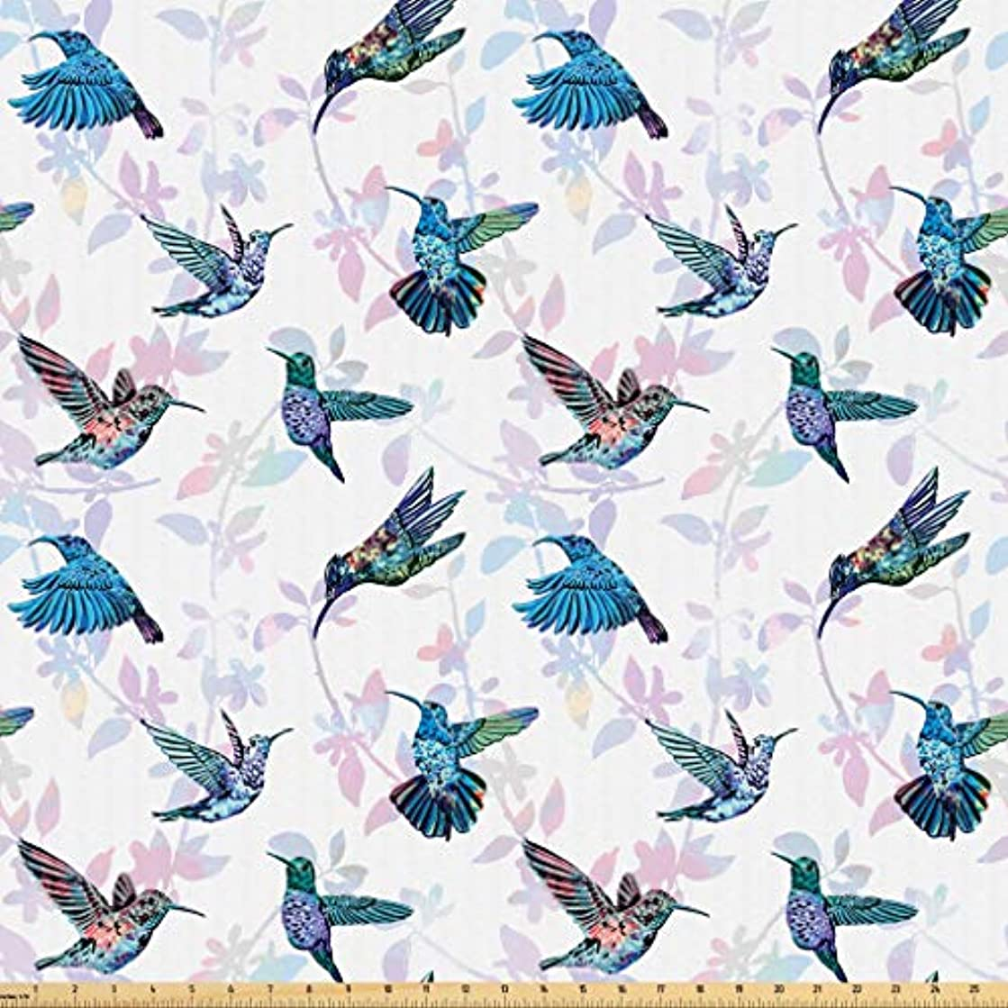 Lunarable Hummingbirds Fabric by The Yard, Tropical Animal Pattern Wildlife Inspirations Exotic Flying Creatures Print, Microfiber Fabric for Arts and Crafts Textiles & Decor, 3 Yards, Multicolor
