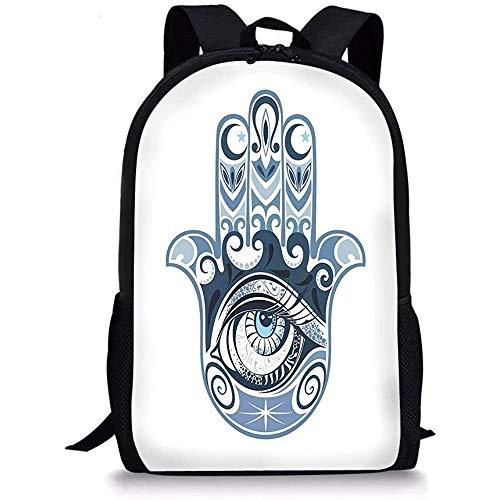 Hui-Shop Mochilas Escolares Mal de Ojo, Cultural Buena Suerte Amuleto Dibujado a Mano Artístico Mágico Supersticioso Sagrado, Azul Oscuro Azul Claro para niños Niñas