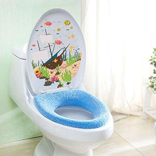 Rainbow Fox Salle de Bains Toilette Siège Decal Art Autocollants Le sous-Marin Monde Pirate Navire Eau Les Plantes (ZY297)