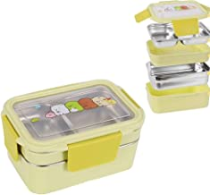 WCHCJ Two Tiers Kids Lunch Box Bento Box Stainless Steel Food Container Storage Boxes for Kids Children Adults Office Scho...
