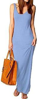 Yeirui Women Summer Sundress Bodycon Color Solid Sleeveless Beach Maxi Tank Dress