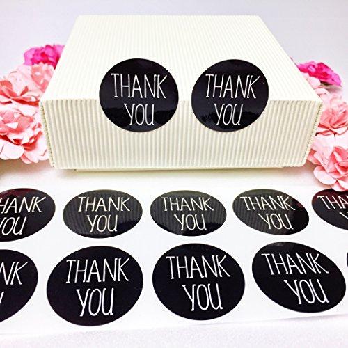 creve Thank you ありがとう 600枚 3cm 円型 ラッピング ラベル ステッカー ギフトシール おしゃれ シンプルフォント 業務用 (黒 ブラック 光沢 防水)