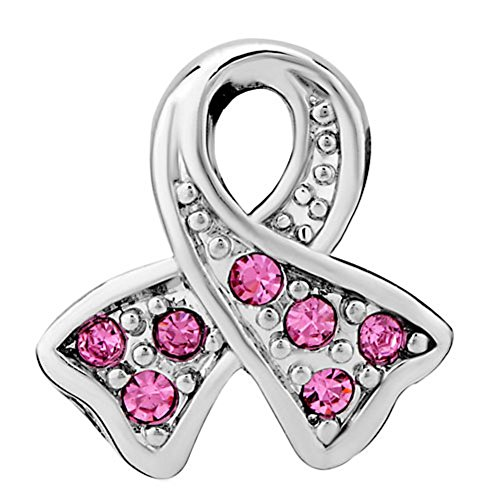 Uniqueen Rhinestone Crystal Ribbon Breast Cancer Awareness Charm Beads Fit Bracelet (October Birthstone)
