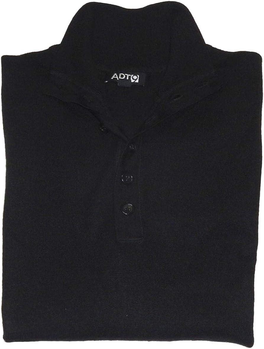 Apt 9 by Liz Claiborne Men's Merino Wool Blend 6-Button Mockneck Pullover Sweater Solid Black