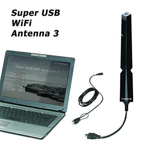 C. Crane Super USB WiFi Antenna 3 - Long Range WiFi Booster for a Windows PC - Longer Range Than The Average WiFi Extender - 2.4 GHz