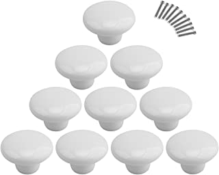 10Pcs Dresser Knobs, YIFAN Cute Drawer Puls for Kids' Room Ceramic Door Cabinet Handles - White
