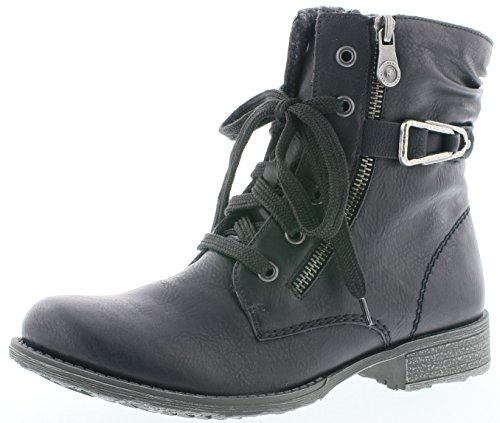 Rieker 70847 Damen Stiefel, Stiefelette, Schnürstiefel, Boot, Schnürboot, Silberne Zierspange schwarz (schwarz/schwarz / 01), EU 36