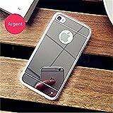 PANXIYUE Coque iPhone 4 / 4S Miroir TPU Coloris Argent Etui Housse Bumper