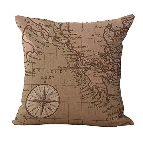 Hengjiang Housse de Coussin en Lin et Coton Style Vintage Méditerranéen Motif Carte du Monde