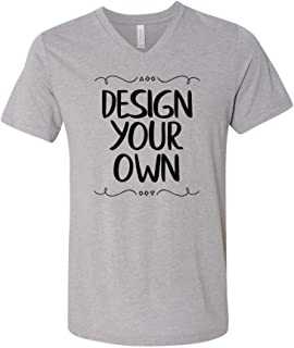 Canvas - Unisex Triblend Short Sleeve V-Neck Tee, Custom Design Your Own