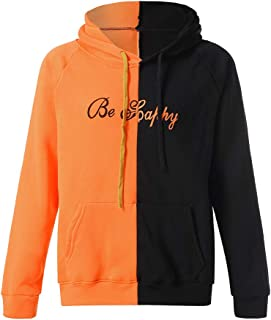 003cf7b834d STORTO Unisex Color Block Plus Size Hooded Sweatshirt Cute Smiling Face  Teens Pullover Tops