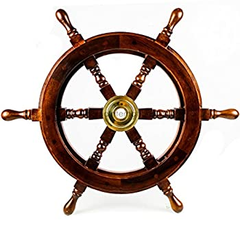 Nagina International Premium Nautical Handcrafted Wooden Ship Wheel | Pirate s Wall Home Decor & Gifts  24 Inches Dark Rosewood