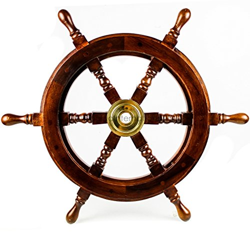Nagina International Premium Nautical Handcrafted Wooden Ship Wheel | Pirate's Wall Home Decor & Gifts (18 Inches, Dark Rosewood)