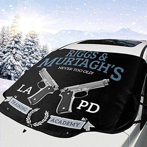 MOLLUDY Protector para Parabrisas Arma letal de la Academia de Entrenamiento de Riggs y Murtaghs Protector para Parabrisas con imán Cubierta de Parabrisas Coche Protege de Rayos Antihielo y Nieve