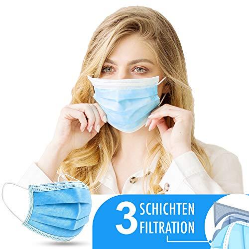 NEU: 50 x Mundschutz (Blau) – Einweg Mundbedeckung aus Vlies (Versand aus DE)