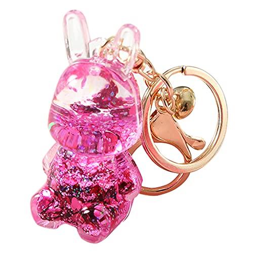 unknows Portachiavi da 2 pollici con ciondolo a forma di bottiglia dei desideri, portachiavi, borsa, accessorio per la bottiglia di drift, regalo per ragazze, Coniglio rosso, Taglia unica