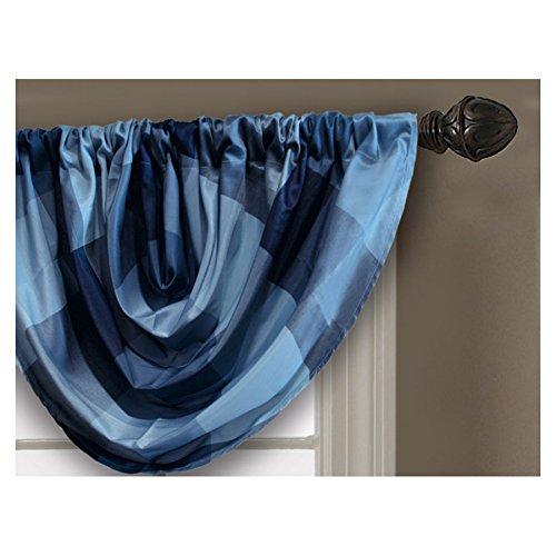 Allen + roth Emilia 36-in Blue Polyester Rod Pocket Valance