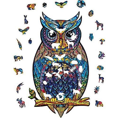 Holzpuzzle | Einzigartige Form Puzzleteile | Charming Owl Wooden Jigsaw Puzzle Tierpuzzles | Weihnachtspuzzle Für Erwachsene Und Kinder Für Familienspielsammlung