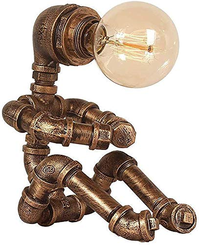 NOSTALGIC Steampunte Lámpara Robot Lámpara Idea Idea Industrial Agua Pipa Lámpara Ahorro de energía Lámpara de escritorio 1 Vintage Café Decoración Bar Shop,Copper