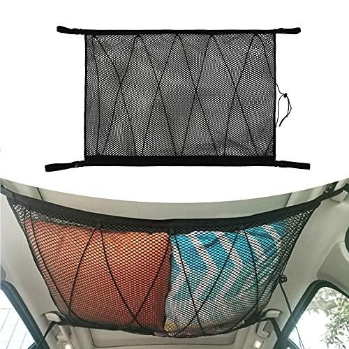 WingFly - Rete portaoggetti da soffitto per auto, 90 x 65 cm, in rete, con coulisse e cerniera, per interni sul tetto e bagagli, per SUV, camion, furgoni