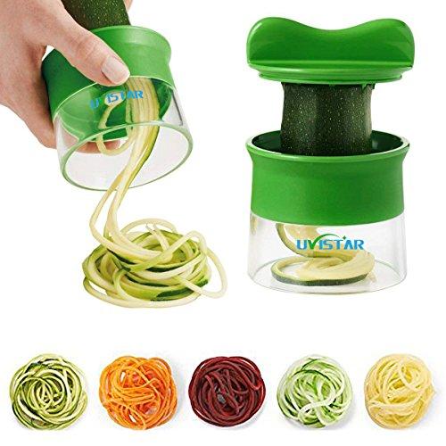 uvistar Spiralschneider Hand für Gemüsespaghetti kartoffel, Zucchini Spargelschäler, Gurkenschneider, Gurkenschäler, Möhrenreibe Möhrenschäler, Gemüsehobel, Kunststoff, Black, 9 x 8 x 8 cm