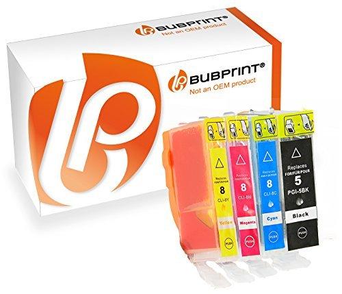 Bubprint 4 Druckerpatronen kompatibel für Canon PGI-5BK CLI-8 für Pixma IP3300 IP3500 IP4200 IP4300 IP4500 IP5200 IX4000 MP510 MP600 MP610 MP970 MX700