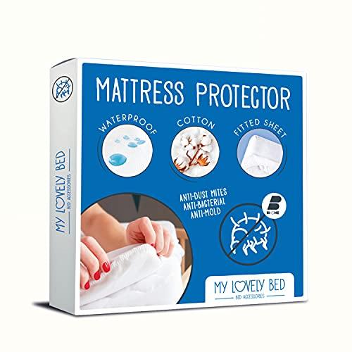 My Lovely Bed - Protège Matelas 160x200 cm   Alèse Imperméable et Anti Acarien   Souple et Silencieux - Molleton 100% Coton