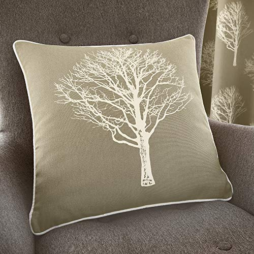 Fusion - Woodland Trees - 100% Cotton Filled Cushion - 43x43 cm, Linen