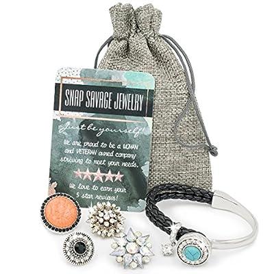 Snap Savage Jewelry Women's Multi Charm Bangle Bracelet - Versatile Any Occasion Set (Silver/Black)
